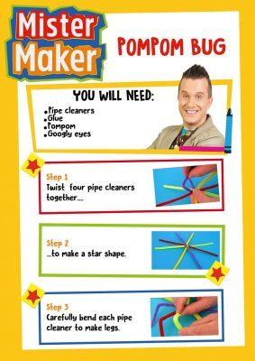 Mister Maker Pompom Bug Activity Sheet