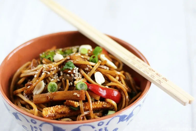 Crunchy Vegetable Noodle Salad with Peanut Dressing