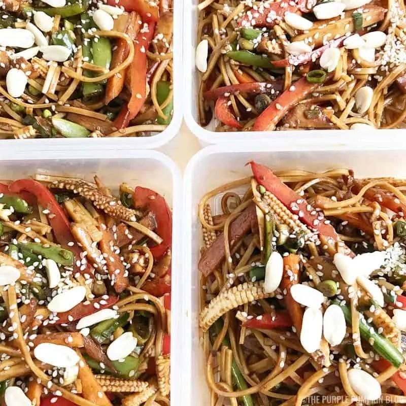 Crunchy Vegetable Noodle Salad with Peanut Dressing - Meal Prep Recipe
