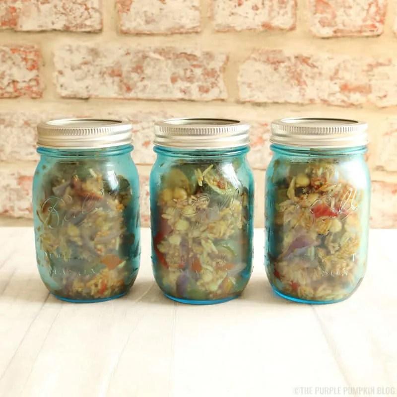 Roasted Vegetable, Chick Pea & Rice Salad in Mason Jars