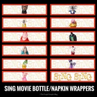 SING Movie Bottle and Napkin Wrappers