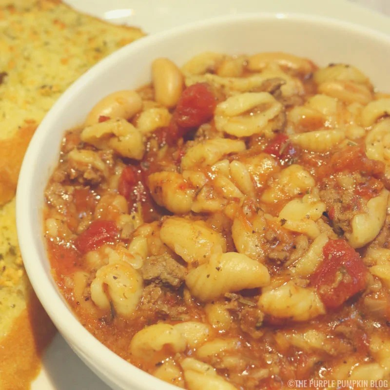 Pasta Fagioli with homemade garlic bread