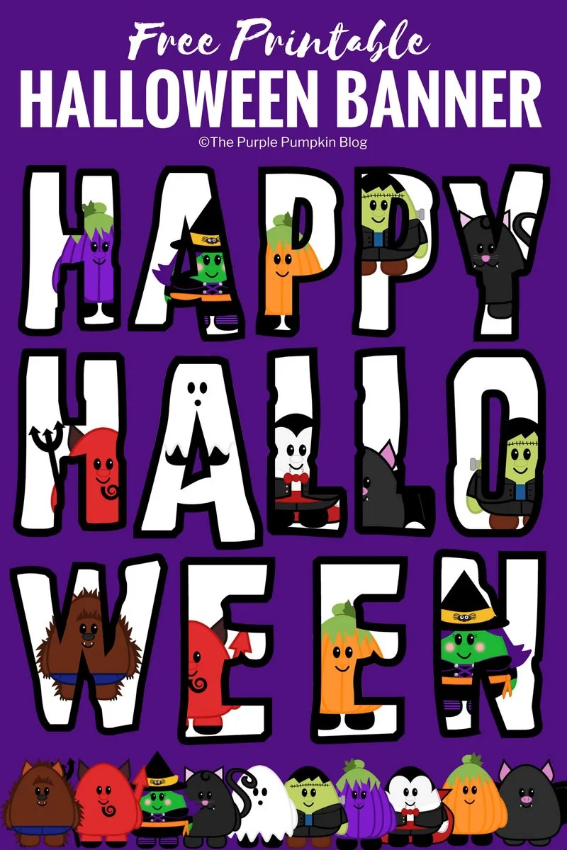 Download and print this free printable Halloween banner from The Purple Pumpkin Blog. There is a whole matching set of party printables to go with this, plus a ton of other awesome Halloween stuff!