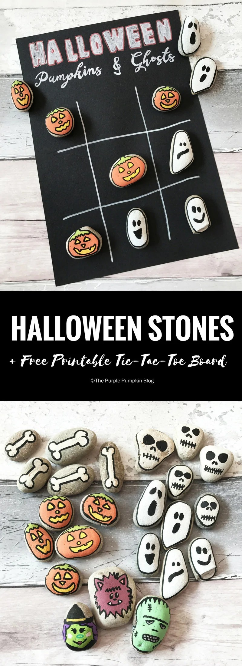 Halloween Stones: Tic-Tac-Toe. Paint stones with Halloween characters then use them to play Halloween Tic-Tac-Toe! A free printable is included in this blog post. (Plus TONS of awesome #Halloween ideas and #FreePrintables!)