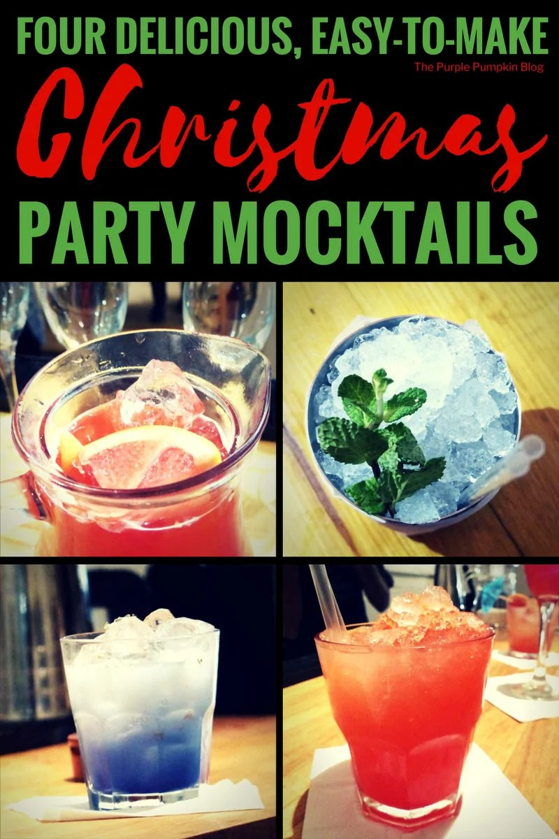 Four Delicious, Easy-To-Make Christmas Party Mocktails! If you're throwing a Christmas Party, and need some fabulous non-alcoholic drinks for the non-drinkers, minors, or for those who have maybe drunk a bit too much booze this festive season, why not try one of these yummy Christmas Party Mocktails? Make one, or make a whole pitcher full!