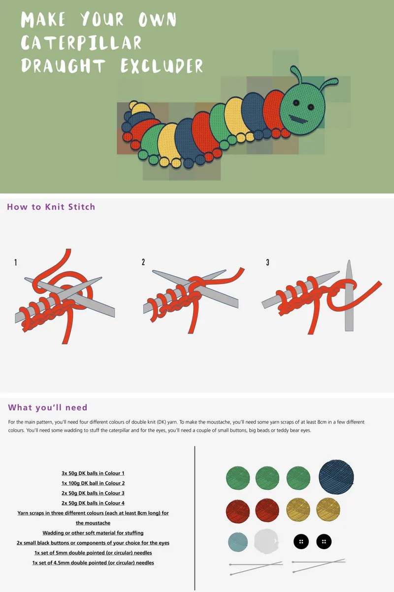 How To Knit A Caterpillar Draught Excluder