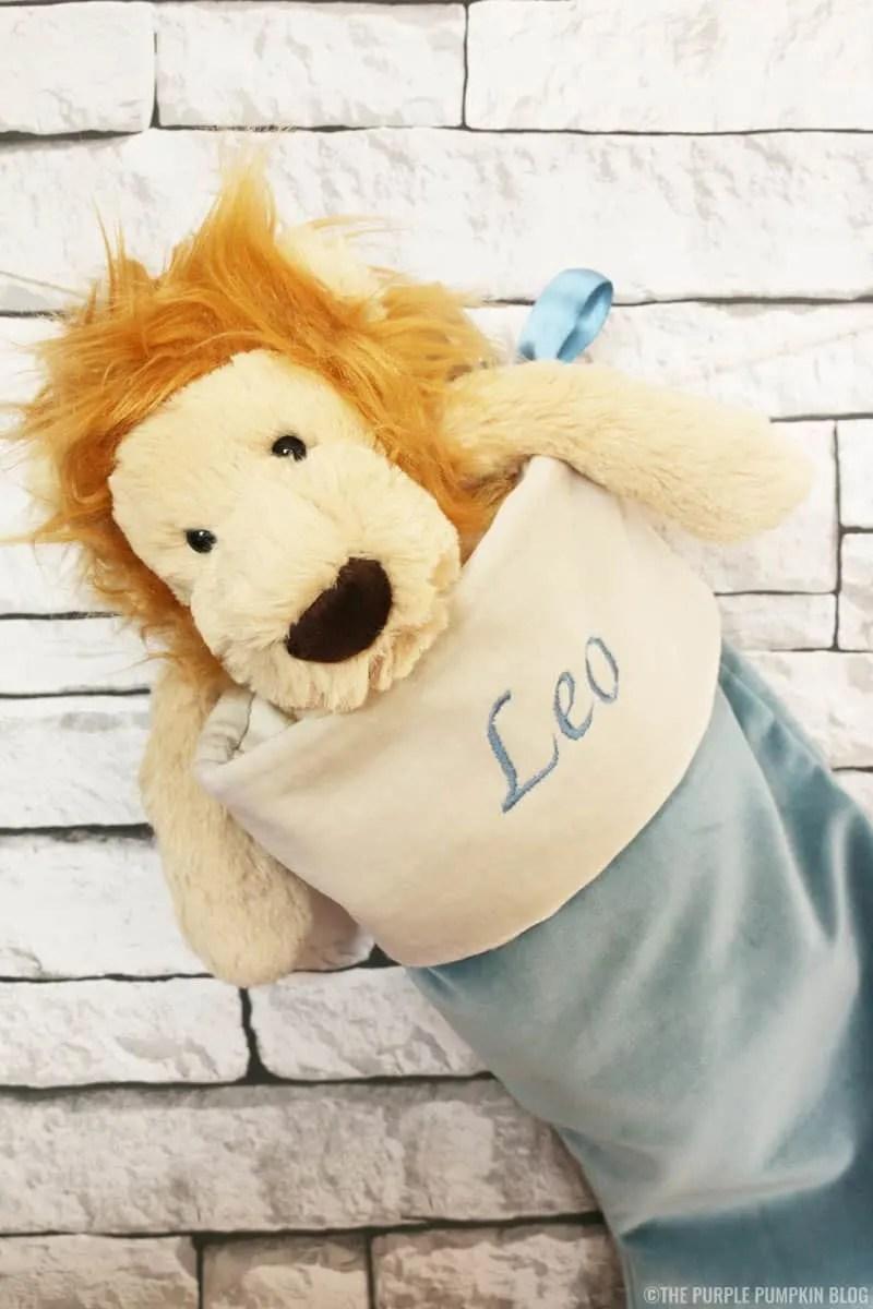 Personalised Christmas Stocking and Lion Plush