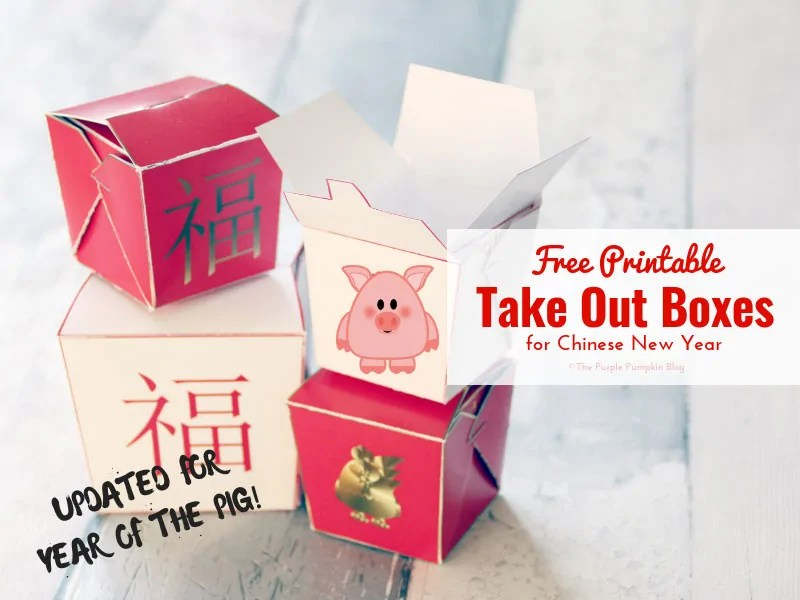 Free Printable Chinese Take Out Boxes - these are great for filling with a fortune cookie or candy for a cute party favor