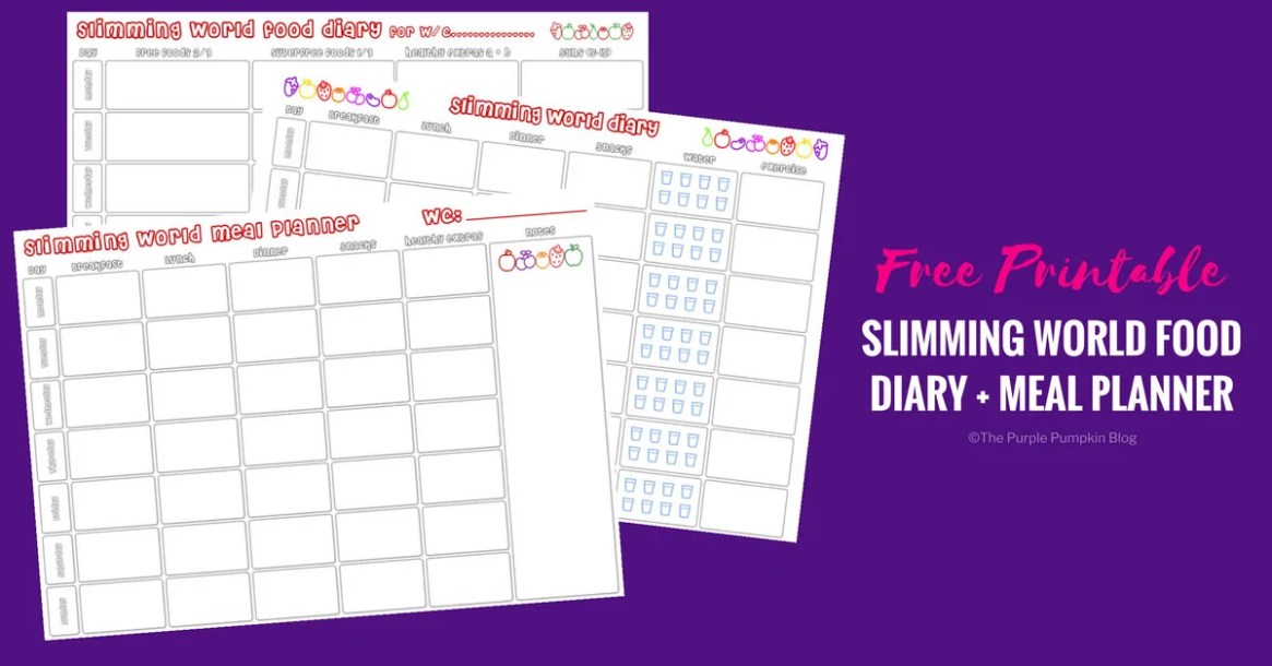 Free Printable Slimming World Food Diary + Meal Planner
