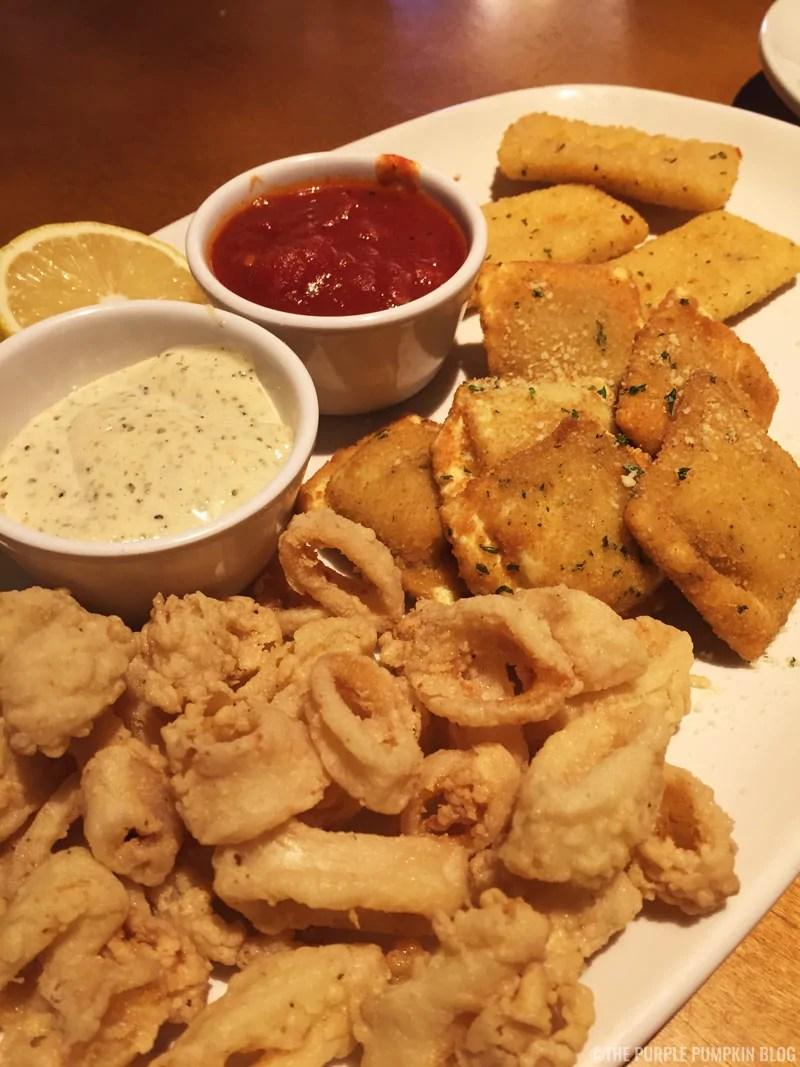 Sampler Italiano- Calamari, Toasted Ravioli, Fried Mozzarella