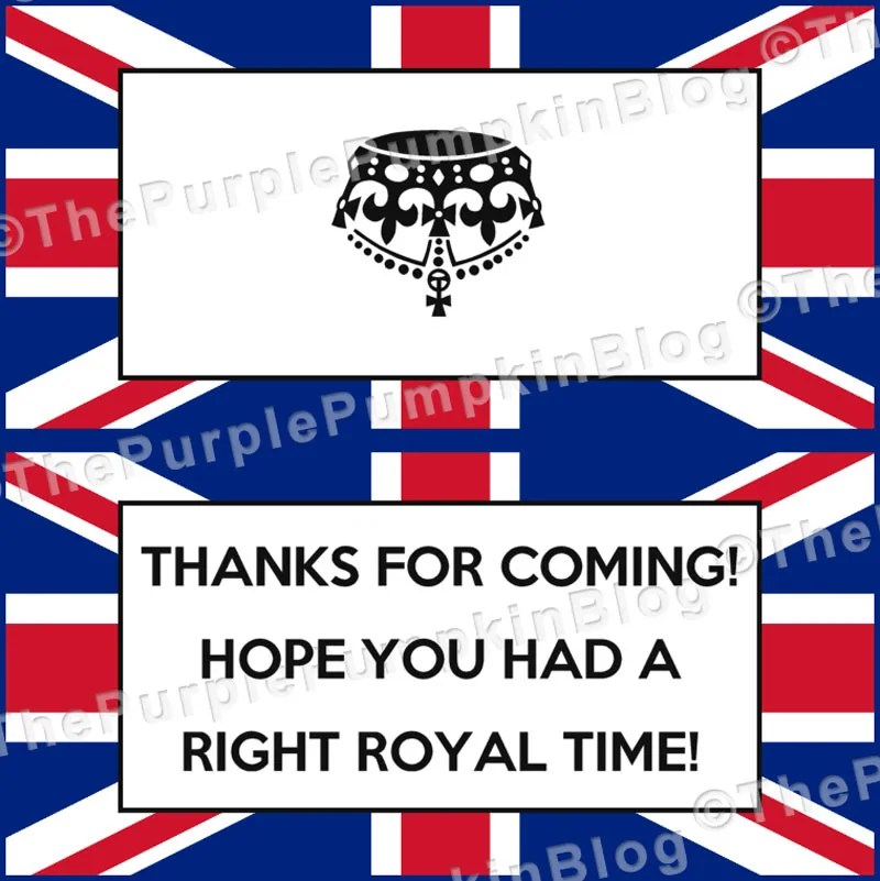 British Royal themed party favor label