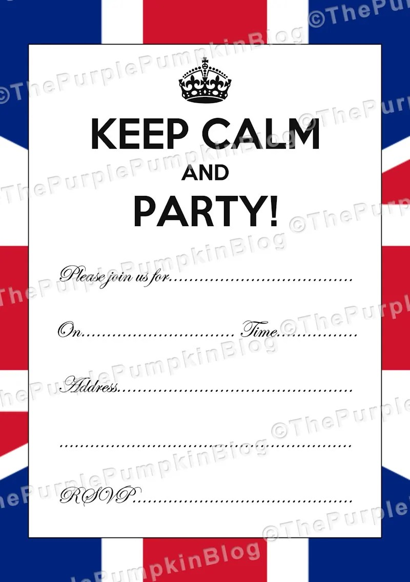 Keep Calm and Party! Invitations - Perfect for a British or Royal Themed Party