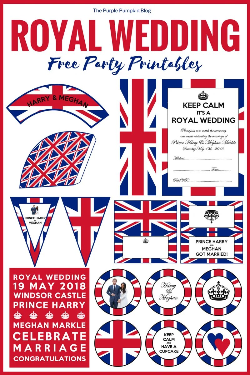 Royal Wedding, Free Party Printables! If you are planning a viewing party for the Royal Wedding of Prince Henry and Meghan Markle, you can print these free printables for the royal wedding to use in your celebrations! Included in this set of Royal Wedding Party Printables are: invitations, cupcake toppers, cupcake wrappers, food labels, bunting, and more!