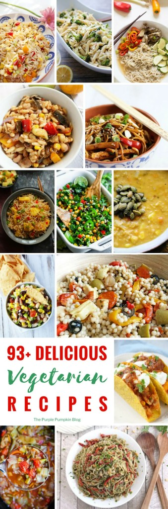 93+ Delicious Vegetarian Recipes! If you're looking for vegetarian recipes you've found the right place! There is a tasty variety of dishes in this vegetarian recipe roundup including salads, soups, pasta, Tex-Mex, and Buddha bowls.