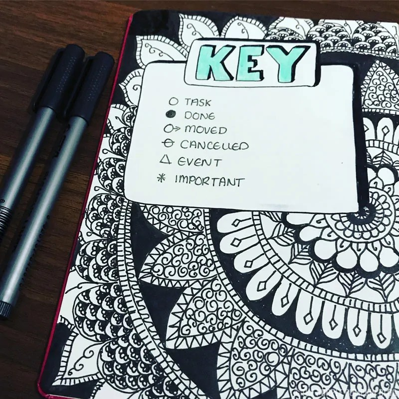 Bullet Journal Key Page