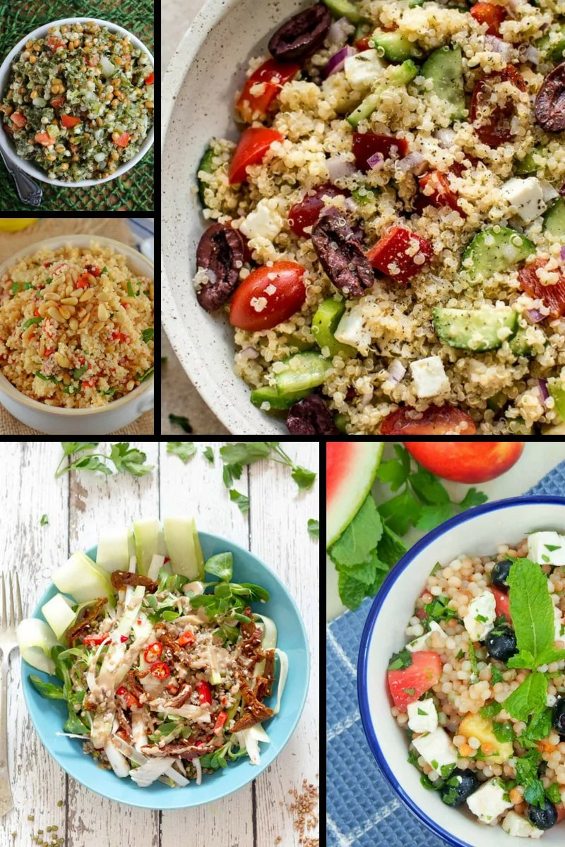 Do you find yourself having the same food for lunch, day in, day out? Stuck for ideas of what to prepare for packed lunches for work/college/school? You've hit the right spot on the internet because here are 21+ amazing grain salads that can be kept in a packed lunch box or mason jar to take on the go. Includes salad recipes made with quinoa, buckwheat, ancient grains and more.