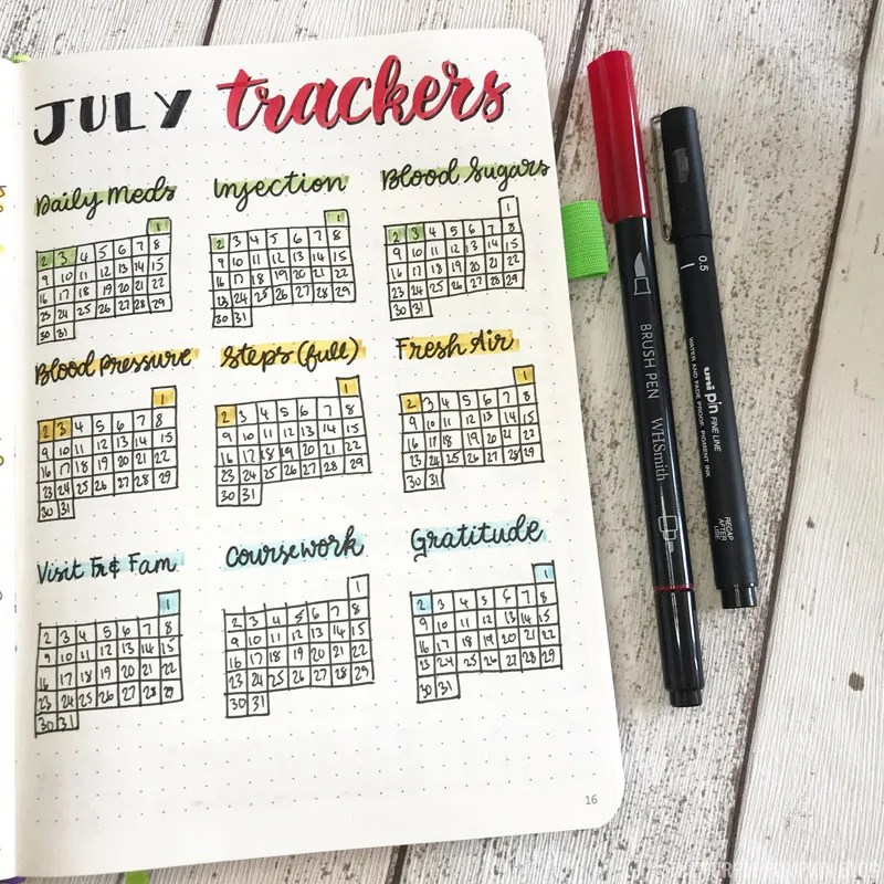 Bullet Journal Trackers