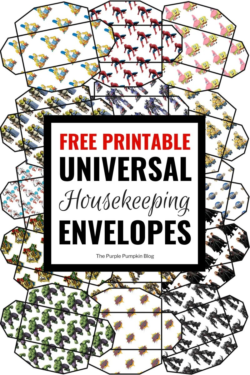 Free printable universal housekeeping envelopes with designs including Spiderman, The Simpsons, Minions, Shrek, and Harry Potter.