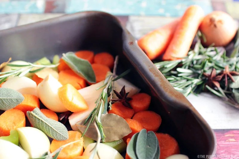 The Vegetables and Hebrs for Make-Ahead Turkey Gravy for Christmas or Thanksgiving