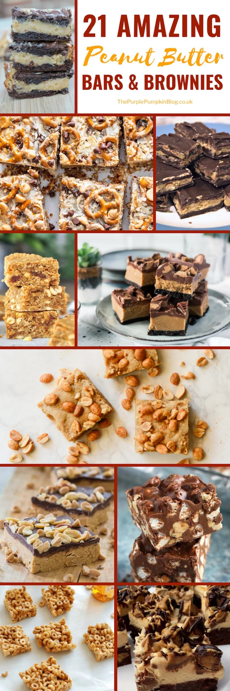 21 Peanut Butter Bars & Brownie Recipes! If you love a chocolate/peanut butter combo, then you're going to love these recipes!  This roundup of peanut butter bars and brownies include: Low Carb; Keto; Gluten-Free; and Vegan recipes. There is an amazing variety of recipes too, with delicious flavourings and ingredients including bananas, coconut, butterscotch, cereal, and pretzels! #PeanutButterBars #Brownies #PeanutButterRecipes