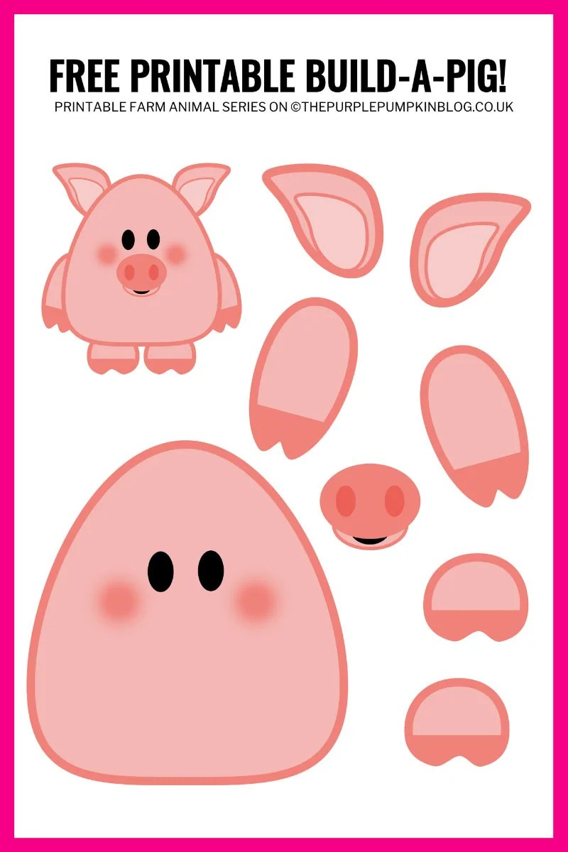 Part of a printable Build An Animal series, Popcorn the Pig is a free printable paper pig template that can be cut and stuck together. The build-a-pig printable helps children with their cutting and sticking skills, as well as the opportunity to get creative with other materials too – like sticking on pieces of fur fabric, or buttons for eyes for example.