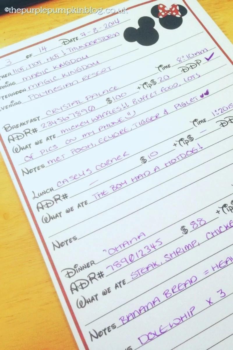 Disney Trip Report/Diary Printables