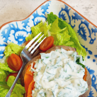 Baked Sweet Potato with Herb Yogurt Topping