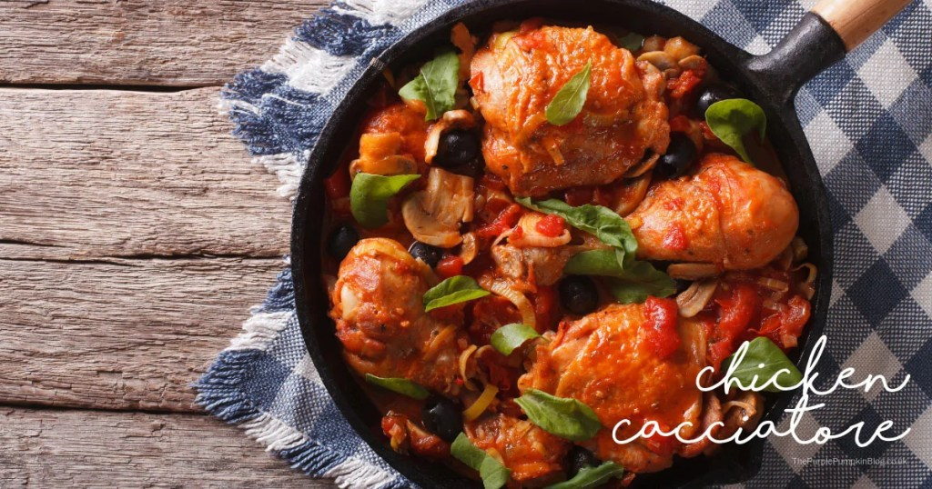 This one pan Chicken Cacciatore is a delicious, comforting Italian chicken dish, that makes a great family meal any day of the week!