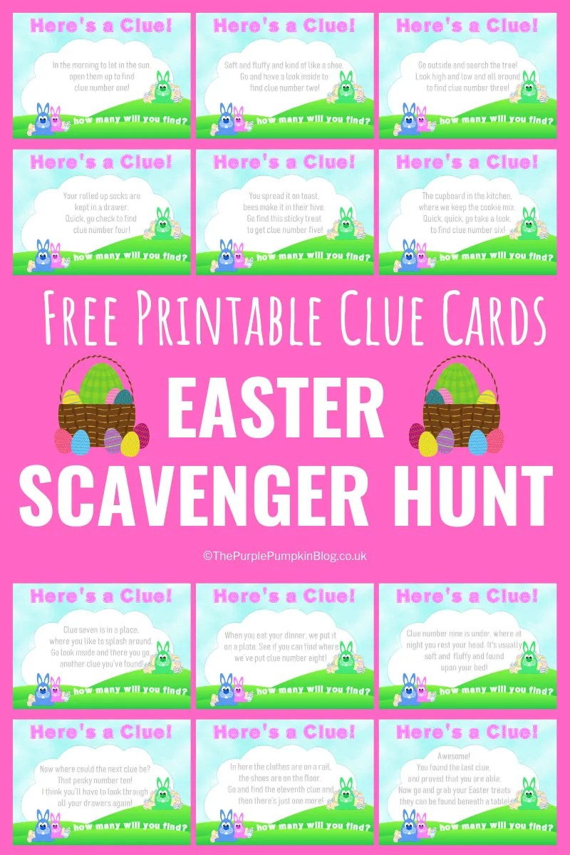 Included in this set of free Easter Scavenger Hunt Printables are 12 clues for you to hide and set up for your child/ren to have a fun Easter hunt at home. Each clue will lead to the next one, until the final one which leads them to their big prize! Blank cards are included if you want to write your own clues, and there is also a matching Easter Hunt Kit with lots of printables to add to the activity! #EasterScavengerHunt #ThePurplePumpkinBlog #EasterEggHunt #ScavengerHuntClues #FreePrintables