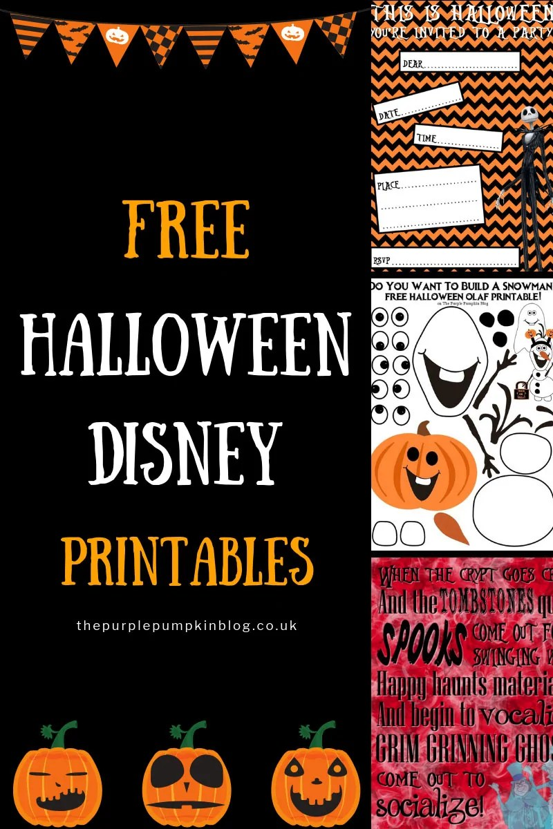 An awesome selection of Free Halloween Disney Printables! Includes Halloween party printables with Jack Skellington and The Nightmare Before Christmas; as well as Disney Villains.There is also a fun Halloween Olaf to cut and stick together. #HalloweenDisneyPrintables #DisneyPrintables #HalloweenPrintables #ThePurplePumpkinBlog