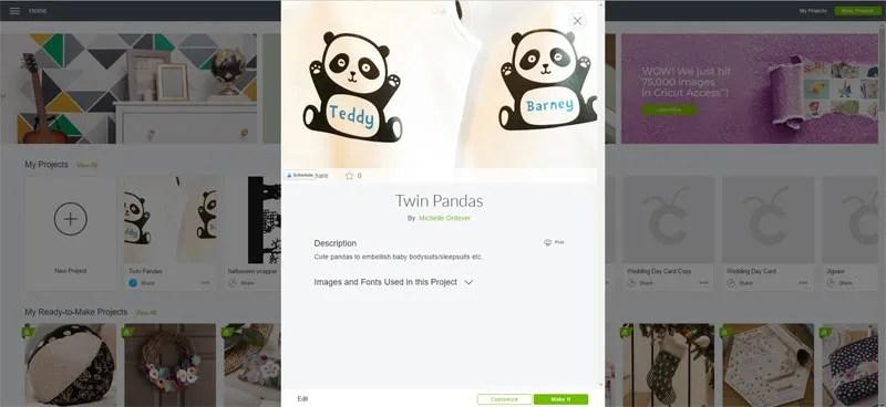 Twin Pandas Cricut Design Space Project