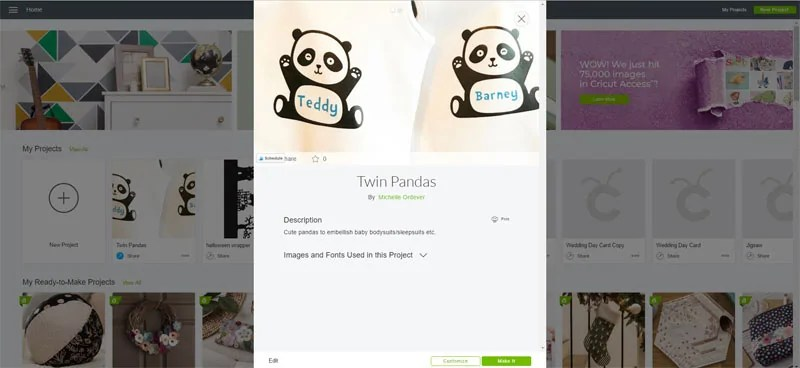 Twin Pandas Cricut Design Space Project