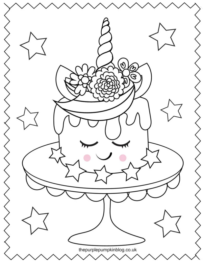 Unicorn Cake Coloring Sheet