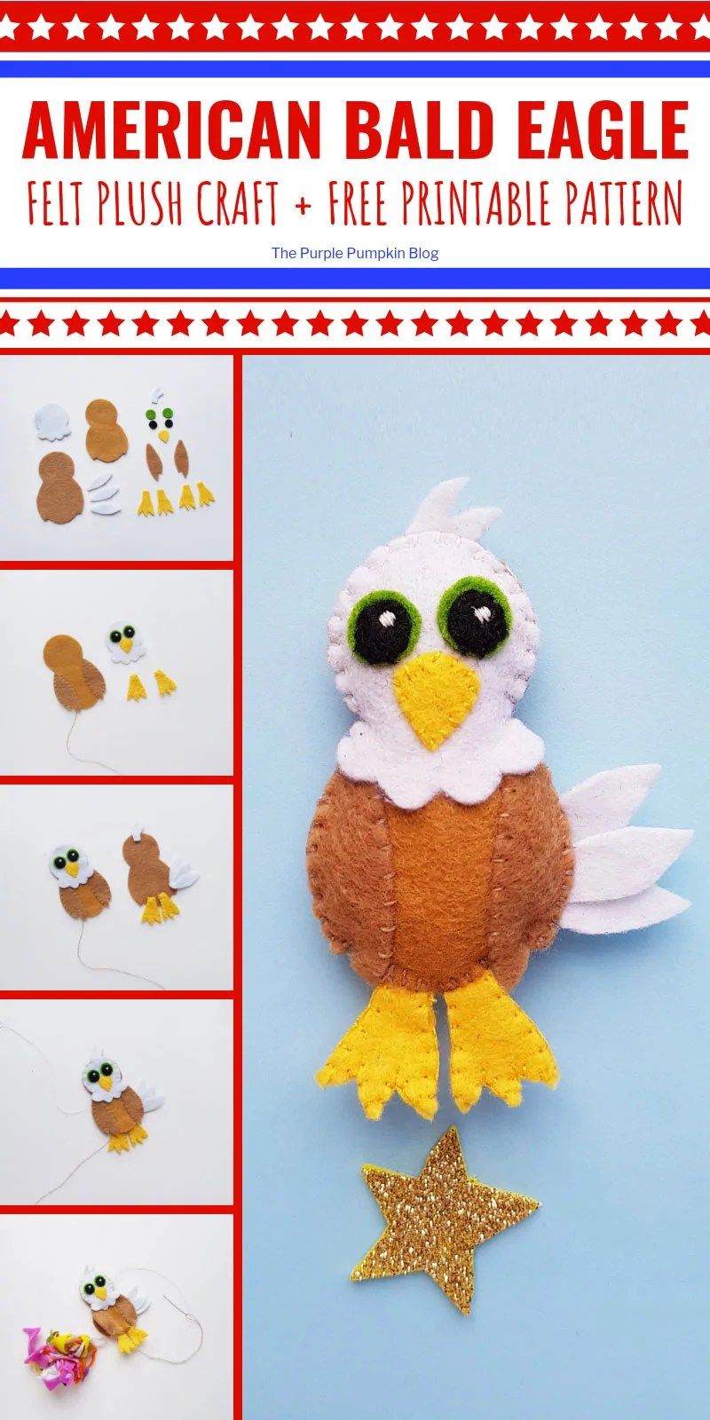 American Bald Eagle Felt Plush Craft with Free Printable Pattern