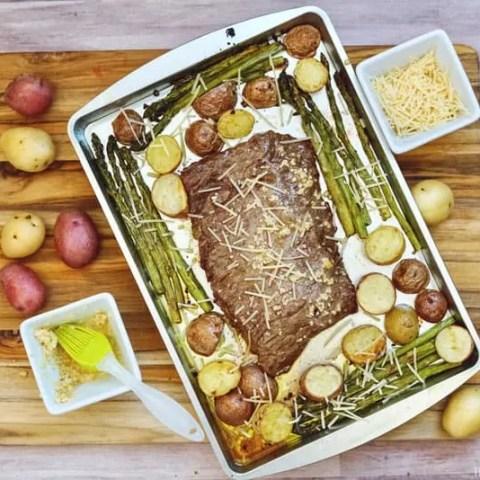 Sheet Pan Garlic Parmesan Steak with Asparagus