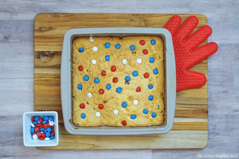 Baked cookie dough in pan