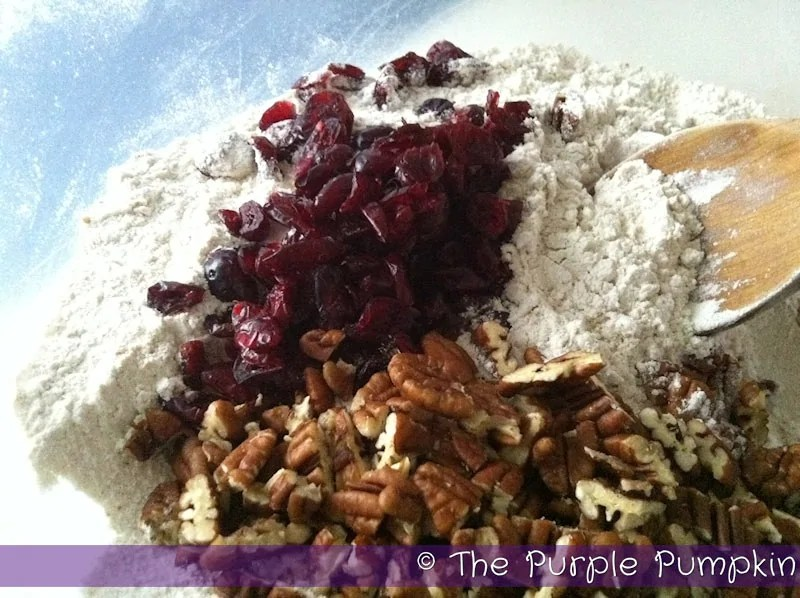 cranberry and pecans added to flour