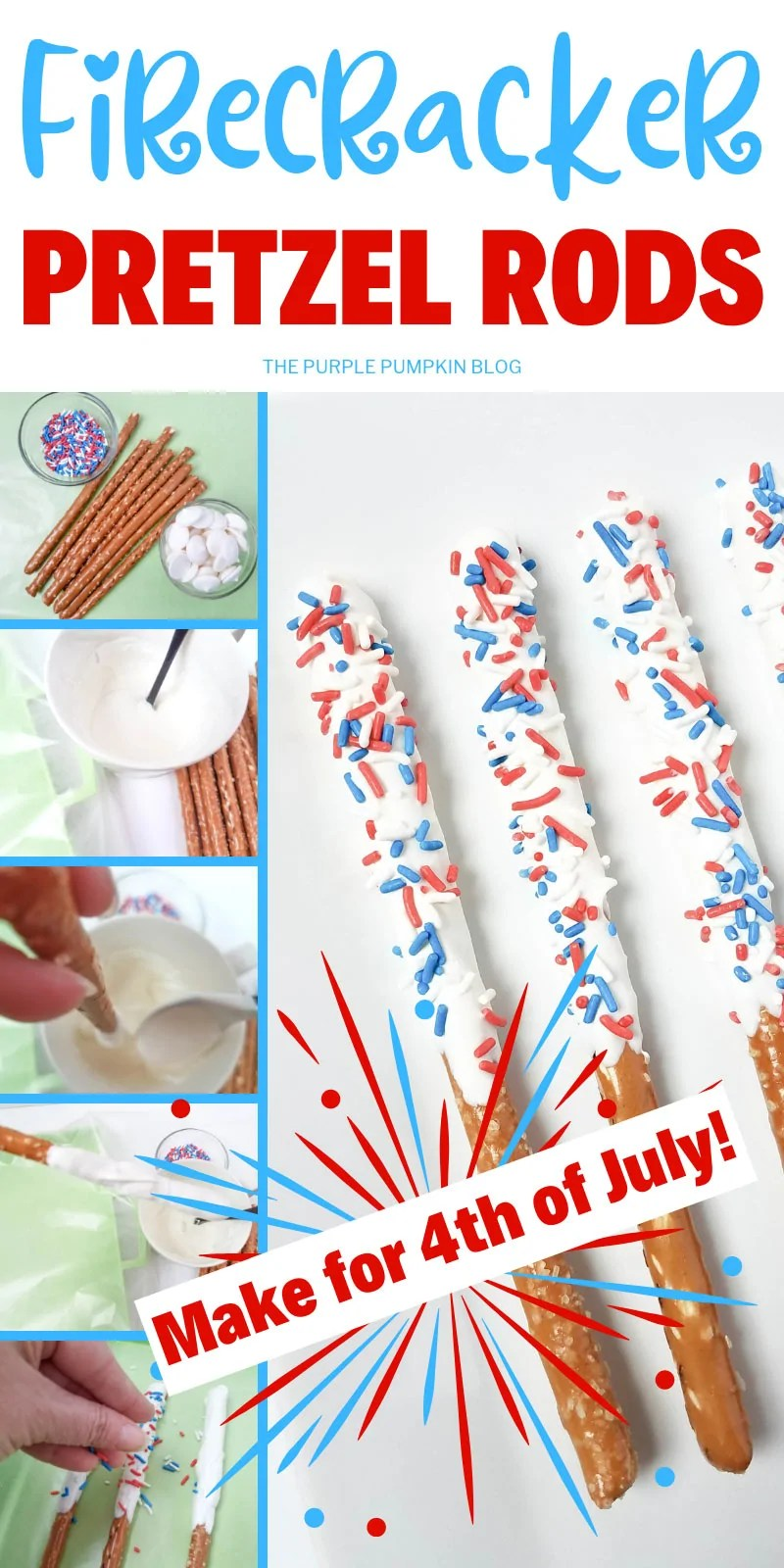 A collage of step-by-step photos showing how to make firecrack pretzel rods.