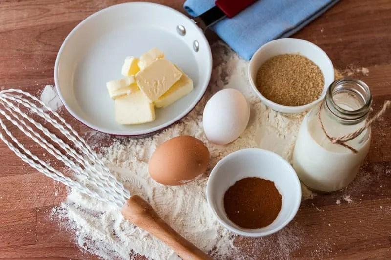 Baking ingredients - butter, flour, eggs, sugar, milk