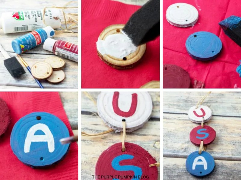 6 photo collage demonstrating how to make this wood craft