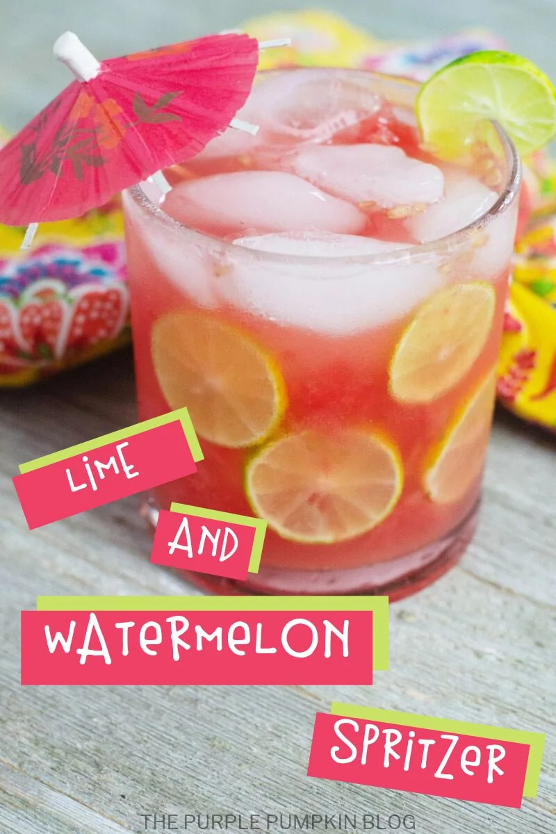 glass of watermelon lime spritzer with text overlay saying the same.