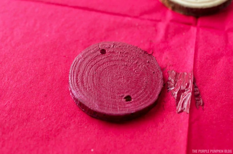 Painting wood slice red