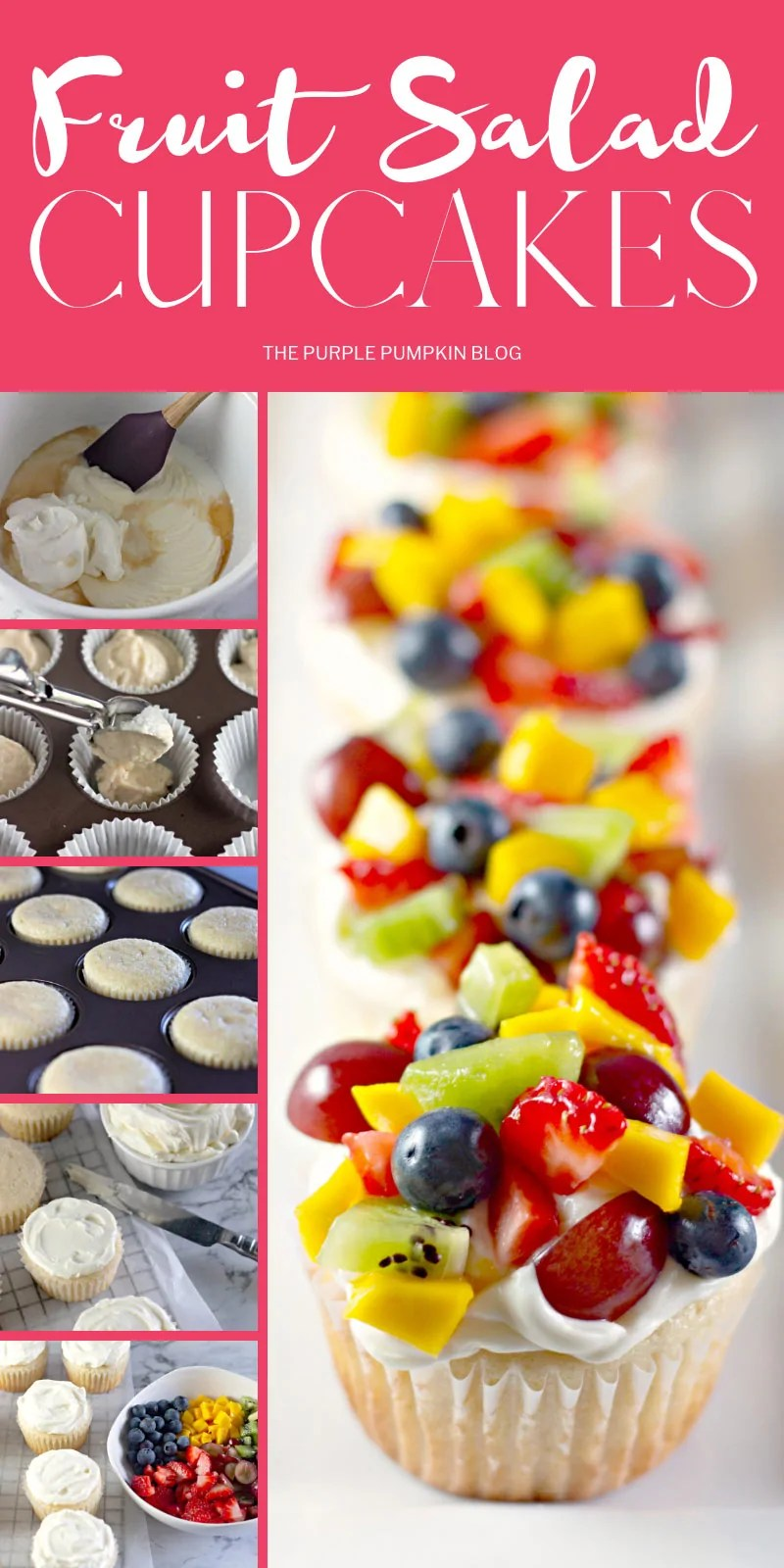 Step-by-step photos demonstrating how to make fresh fruit cupcakes
