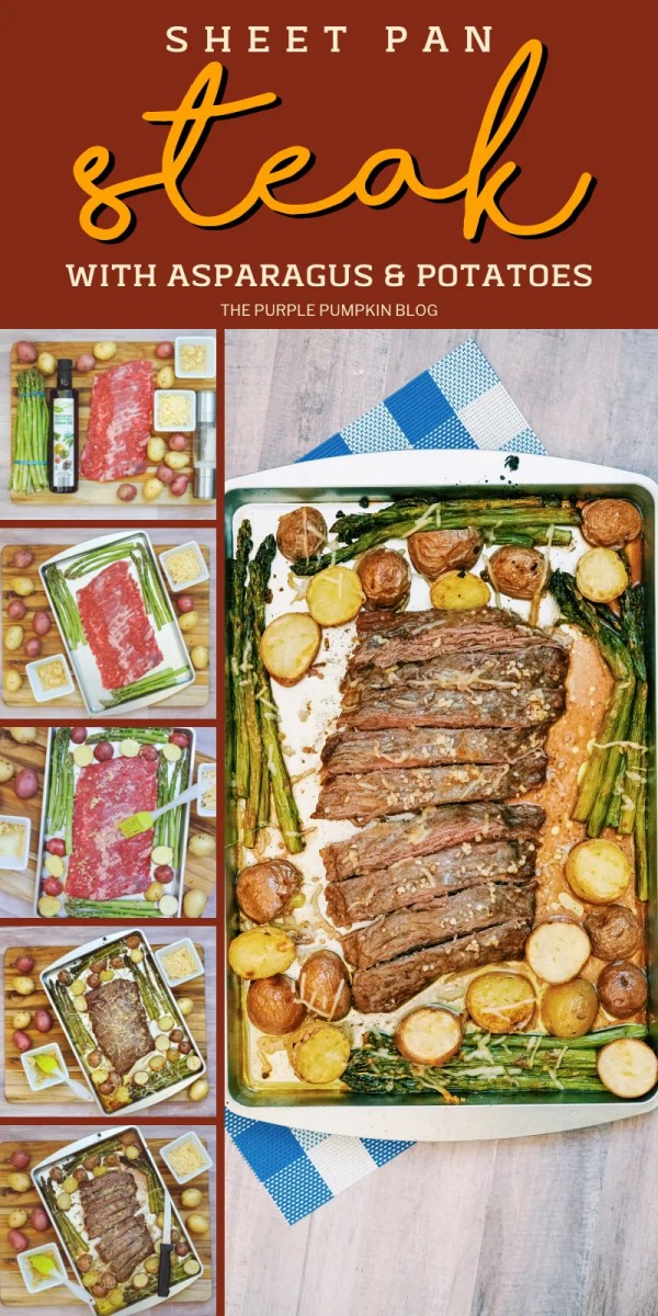 Sheet pan steak with asparagus and potatoes brushed with olive oil and garlic