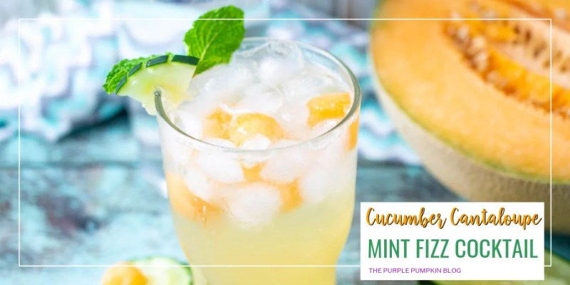 Glass of cucumber cantaloupe mint fizz cocktail