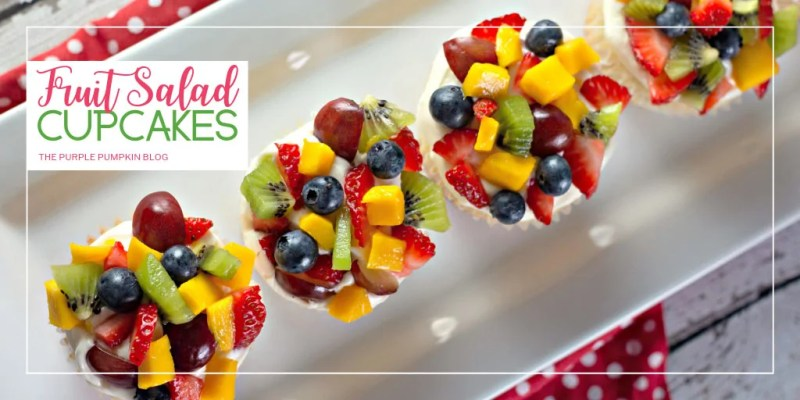 Fruit Salad Cupcakes on a white plate