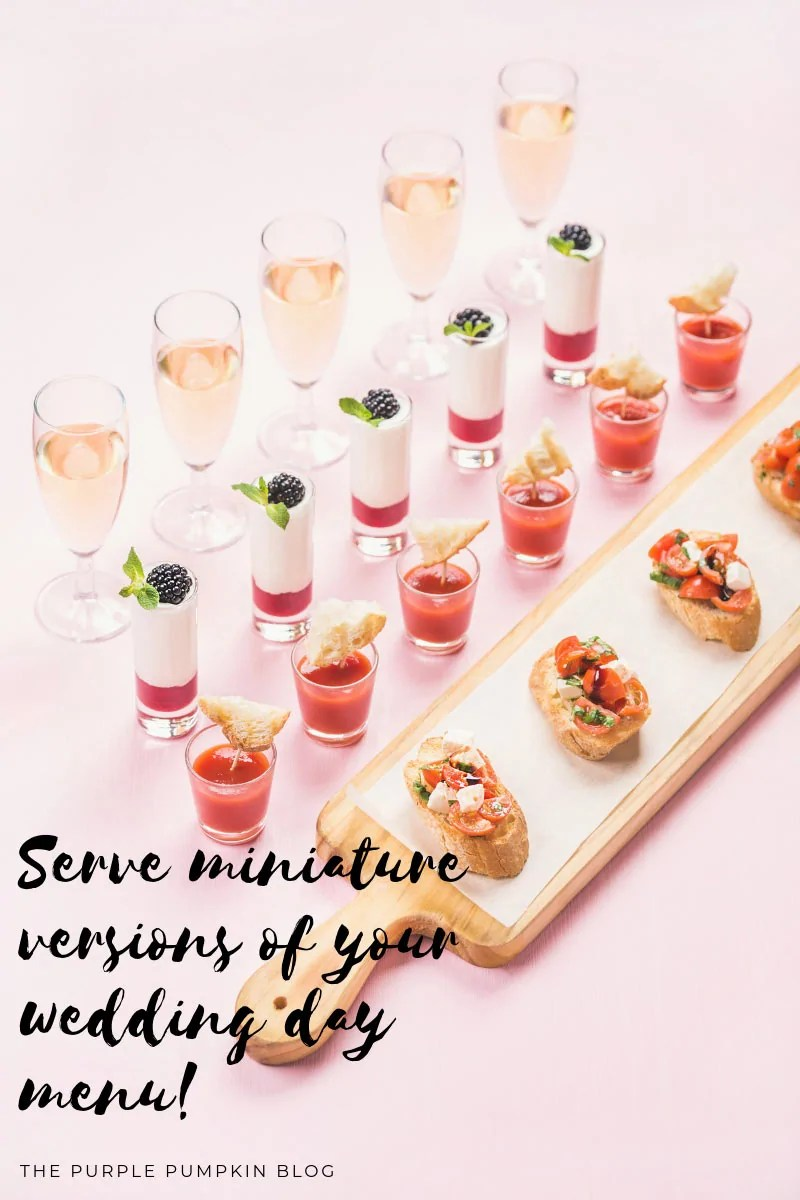 four rows of miniature food - canapes.