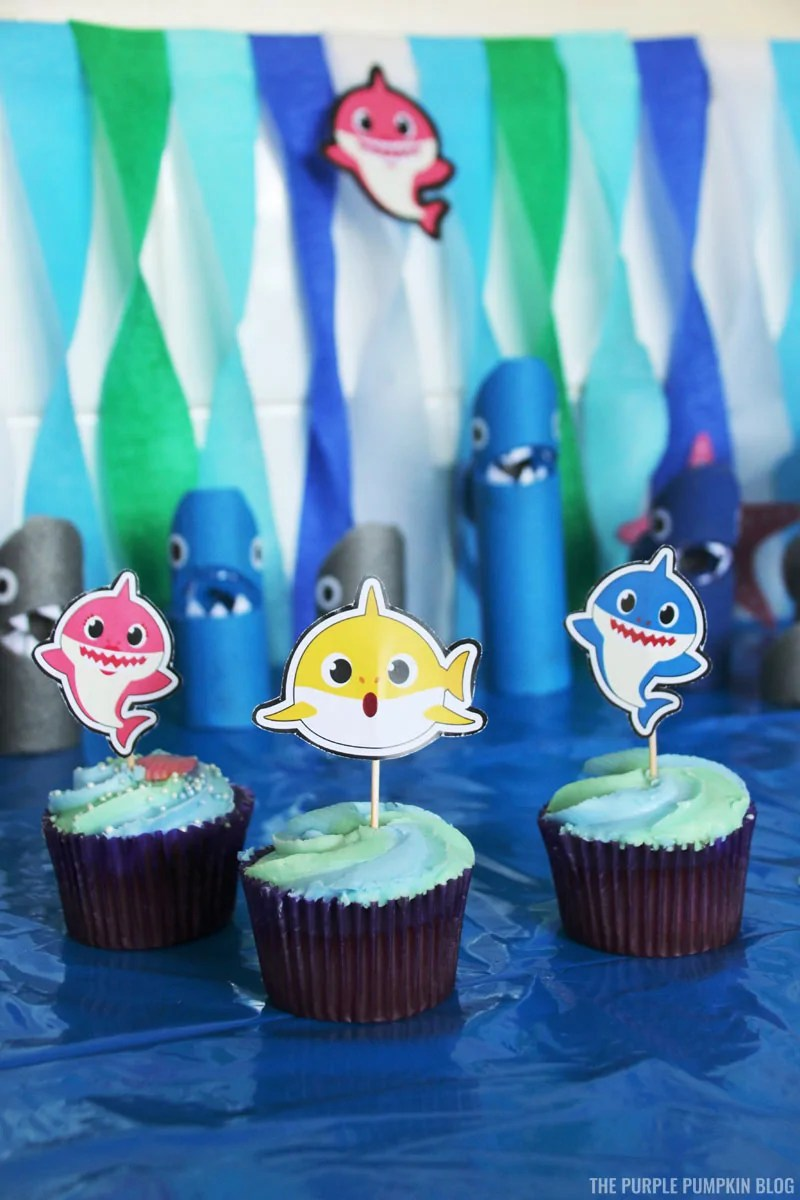 Baby Shark Party Cupcakes