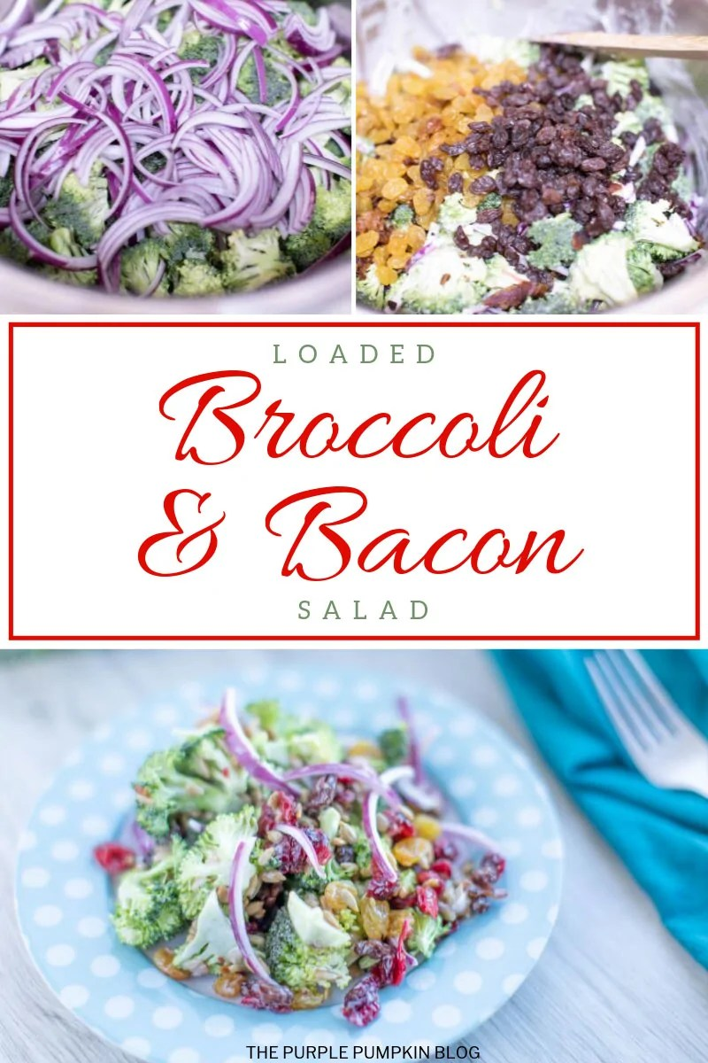 Loaded broccoli bacon salad on a blue and white polka dot plate