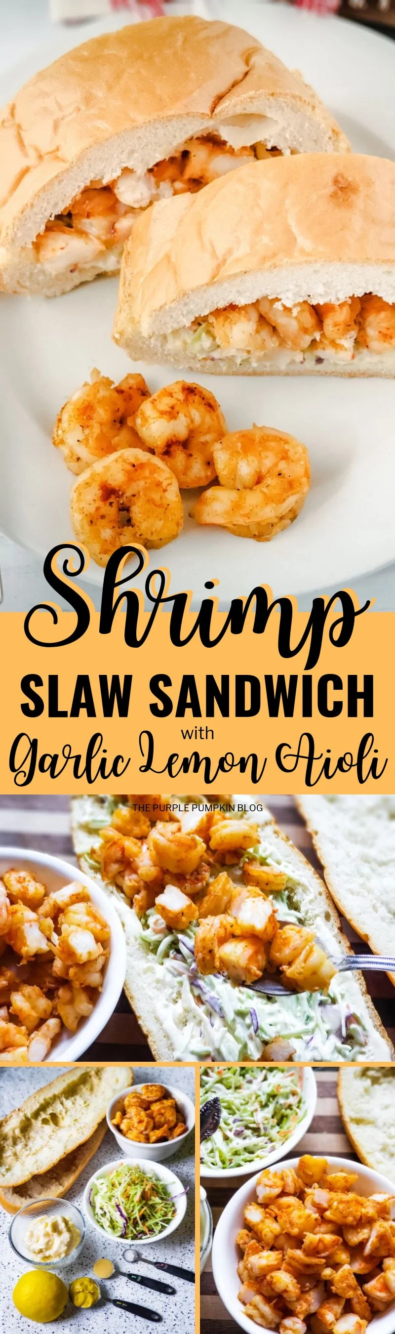 Make this Shrimp Slaw Sandwich when you have a craving for seafood - it's packed with delicious shrimp, crunchy slaw and a garlic lemon aioli (which is essentially a fancy mayo!). Enjoy for lunch, or a light summer dinner with a cold beverage; or serve at a summer gathering with friends. It's a recipe that's easy to prepare and full of flavour. #shrimpslawsandwich #sandwiches #thepurplepumpkinblog #recipes